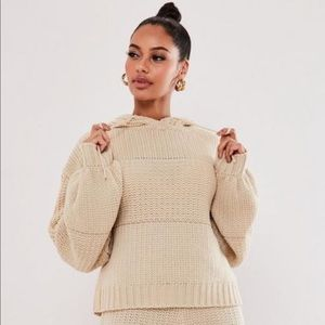 Chunky Mixed Knit Hoodie from Missguided